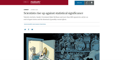 TScientists rise up against statistical significance