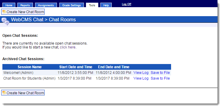 Open chat room